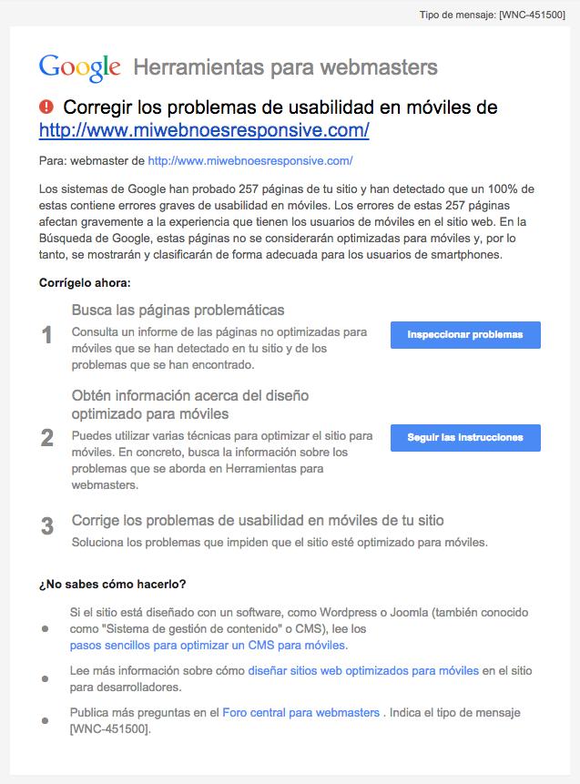 Email Google Webmaster Tools Corregir problemas de usabilidad en móviles